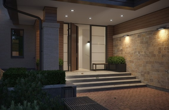 Главный вход в дом - подсветка