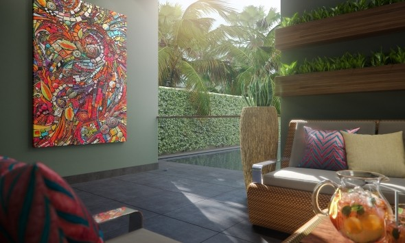 Фойе гостиницы - вид на бассейн