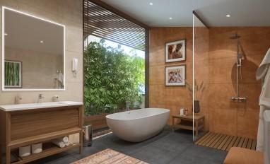 Ванная комната с панорамным окном