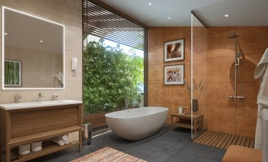 Bathroom with panoramic window