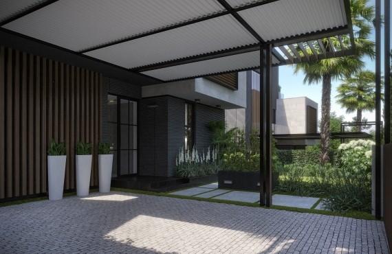 Крытые парковочные места и вход в дом