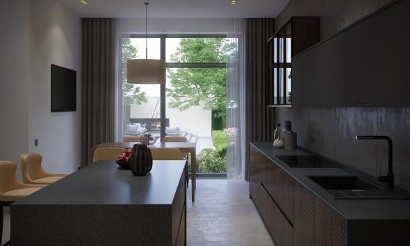 Кухня - вид на пруд и открытый камин